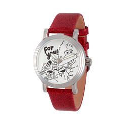 Sesame Street Womens Red Strap Watch-Wss000011