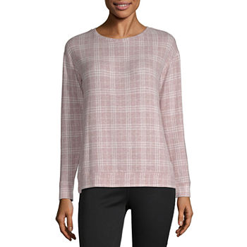 Liz Claiborne Womens Round Neck Long Sleeve Sweatshirt
