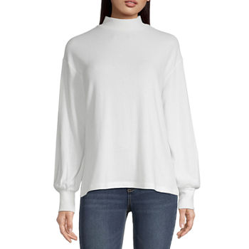 a.n.a Womens Long Sleeve Mock Neck Top-Tall