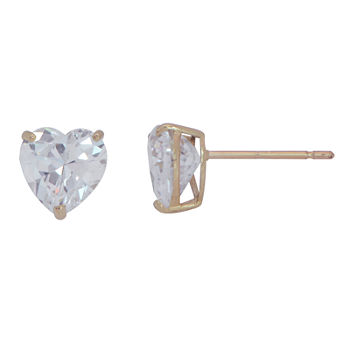 aca1a76a72ebf Heart Cubic Zirconia 10K Gold Stud Earrings