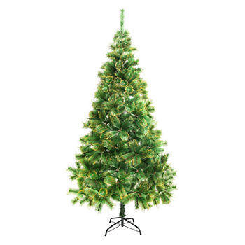 aleko luscious artificial christmas holiday tree with golden tips - Fully Decorated Artificial Christmas Trees