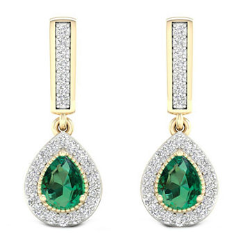 Genuine Green Emerald 10K Gold Drop Earrings