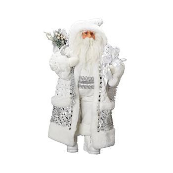 roman 18 inch silver and white santa figurine - White Santa Claus