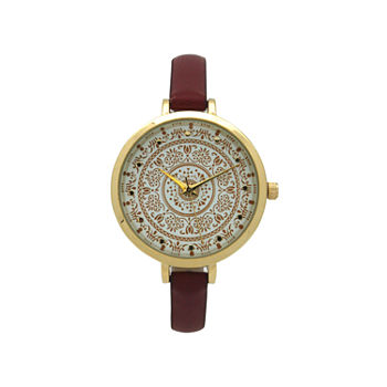 Olivia Pratt Womens Red Leather Strap Watch-16849red