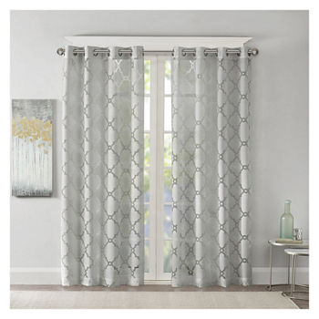 Madison Park Laya Trellis Sheer Grommet-Top Single Curtain Panel