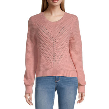 Almost Famous-Juniors Womens Scoop Neck Long Sleeve Pullover Sweater
