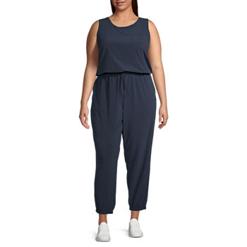 Stylus Zip Back Jogger Sleeveless Jumpsuit-Plus