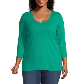 St. John's Bay Plus-Womens Scoop Neck 3/4 Sleeve T-Shirt