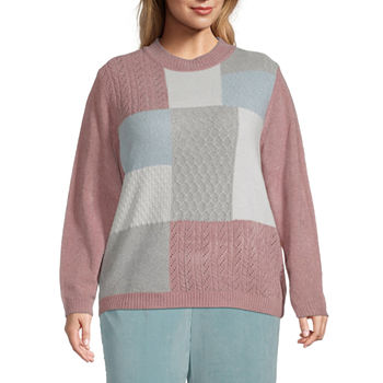 Alfred Dunner-Plus St Moritz Womens Crew Neck Long Sleeve Geometric Pullover Sweater