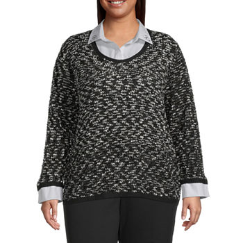 Alfred Dunner Knightsbridge Station Womens Long Sleeve Layered Sweaters-Plus