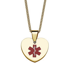 Personalized Gold-Tone IP Stainless Steel Heart Engraved Medical ID Pendant Necklace