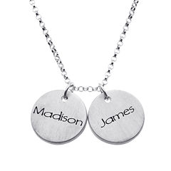 Personalized Sterling Silver Mini Engraved Name Two Disc Pendant Necklace