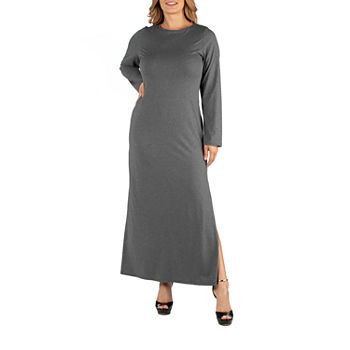 24/7 Comfort Apparel Form Fitting Long Sleeve Maxi Dress