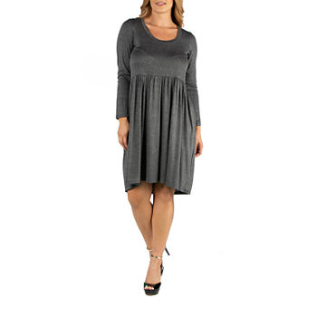 24/7 Comfort Apparel Knee Length Pleated Long Sleeve Dress - Plus