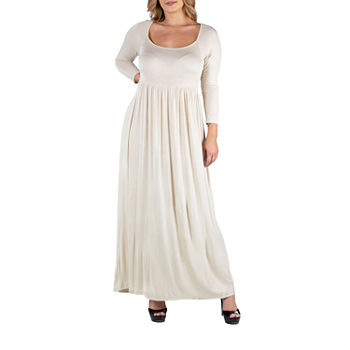 24/7 Comfort Apparel 3/4 Sleeve Pleated Maxi Dress