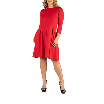 24/7 Comfort Apparel Knee Length Fit and Flare Dress - Pllus