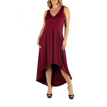 24/7 Comfort Apparel Sleeveless Fit and Flare High Low Dress - Plus