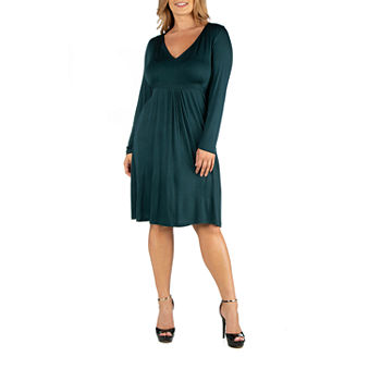 24/7 Comfort Apparel V-Neck Long Sleeve Professional Dress - Plus