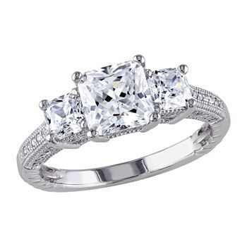 Womens 4 CT. T.W. White Cubic Zirconia Sterling Silver 3-Stone Engagement Ring