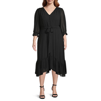 Danny & Nicole-Plus 3/4 Sleeve High-Low Fit & Flare Dress