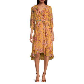 Danny & Nicole-Petite 3/4 Sleeve Floral High-Low Fit & Flare Dress