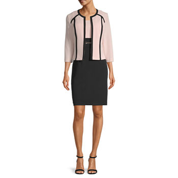 Studio 1-Petite 3/4 Sleeve Colorblock Jacket Dress
