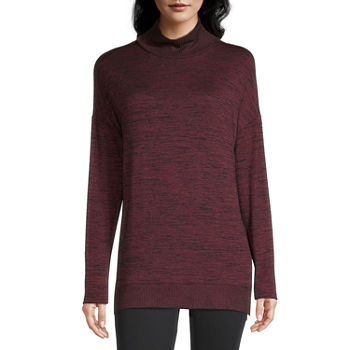 Stylus Womens Mock Neck Long Sleeve Tunic Top