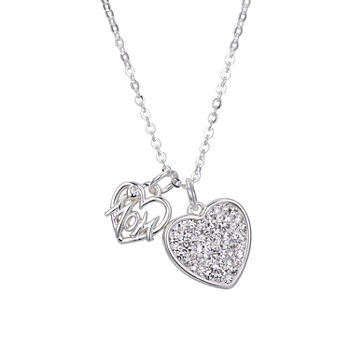 Sparkle Allure Mom Clear Crystal Pure Silver Over Brass Heart Pendant Necklace