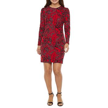 MSK Long Sleeve Glitter Knit Shift Dress