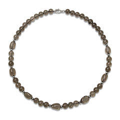Sterling Silver Smokey Quartz Bead Necklace