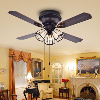 Ceiling fans tarudor dark wood antique bronze crystal fan aloadofball Image collections