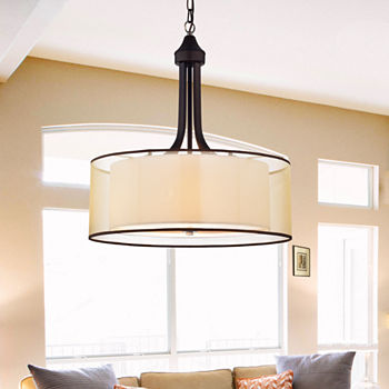 6b4bedfa5e5a Taylor Antique Bronze with Off-white Fabric Shade20-inch Pendant Lamp