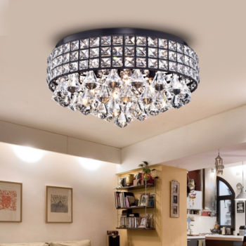 Cuddy antique black metal 16 inch crystal flush mount light