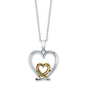 Footnotes Mom Sterling Silver 16 Inch Link Heart Pendant