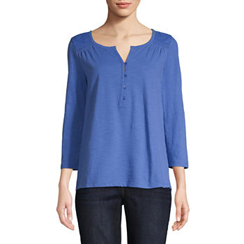 ae1121c54b8e9 Liz Claiborne Womens Y Neck Sleeveless Henley Shirt. Add To Cart. New.  Manhattan Blue
