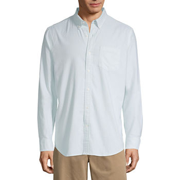 St. John's Bay Stretch Mens Long Sleeve Button-Down Shirt