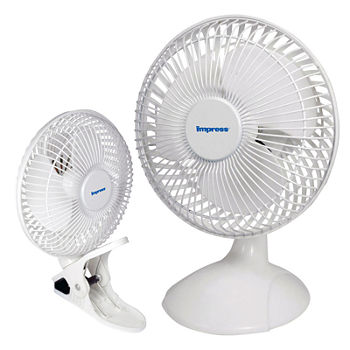 Impress 6 Inch Dual Purpose 2-in-1 Clip/Desk Fan- White