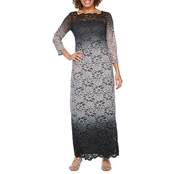 Onyx Nites 3/4 Sleeve Ombre Lace Evening Gown