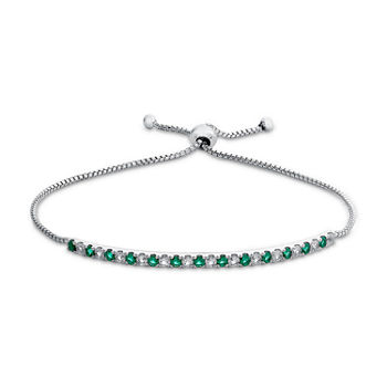 Lab Created Green Emerald Sterling Silver Bolo Bracelet