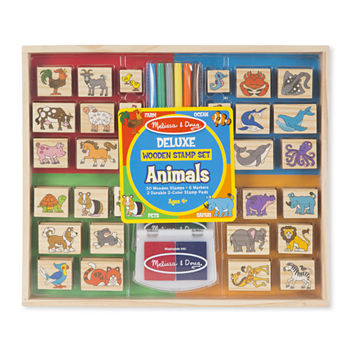 Melissa & Doug Deluxe Wooden Stamp Set - Animals