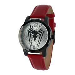 Marvel® Mens Spiderman Red Leather Strap Watch