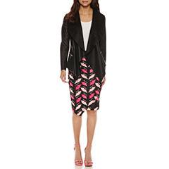 Bisou Bisou Draped Jacket or Assymetrical Mesh Insert Skirt
