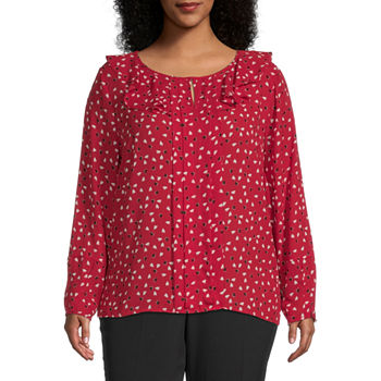 Liz Claiborne-Plus Womens Key Hole Neck Long Sleeve Blouse