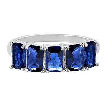 Silver Treasures Sapphire Sterling Silver Band