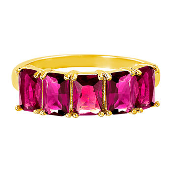 Silver Treasures Ruby 14K Gold Over Silver Band
