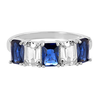 Silver Treasures Sapphire Sterling Silver Rectangular Cocktail Ring