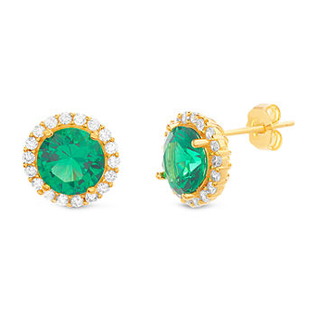 Silver Treasures Emerald 14K Gold Over Silver 11.2mm Stud Earrings