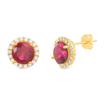 Silver Treasures Ruby 14K Gold Over Silver 11.2mm Stud Earrings