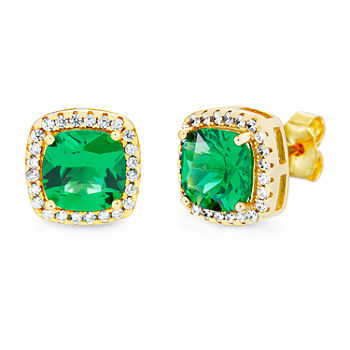 Silver Treasures Emerald 14K Gold Over Silver 9.9mm Square Stud Earrings
