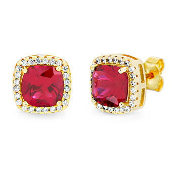 Silver Treasures Ruby 14K Gold Over Silver 9.9mm Square Stud Earrings